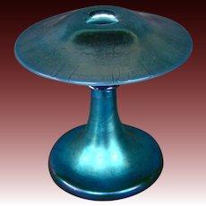 Steuben blue aurene calcite mushroom form art glass candlestick STRIKING