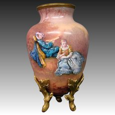 French enamel antique courting scene vase pastoral setting