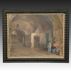 Carlo Perindani listed Italian artist oil painting women in archway Capri