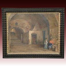 Carlo Perindani listed Italian artist oil painting women in archway Capri