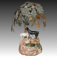 Austrian cold painted orientalist woman horses lamp with tree and slag glass