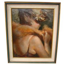 Ahrendt oil painting 1920's flapper woman in stole and hat artist signed