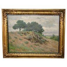 Victor Renson signed landscape oil painting gilt frame