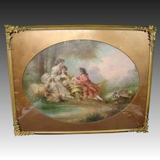 19th Century French school courting scene oil painting after Francois Boucher