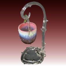 Antique Victorian art glass thorn hanging basket RARE