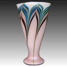Zellique Studio art glass John Morel pulled feather vase dated 1982