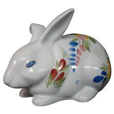 Quimper French pottery rabbit figurine