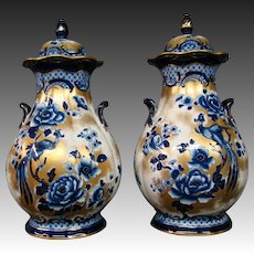 Burslem England pair blue and gold orientalist covered vases urns Keeling
