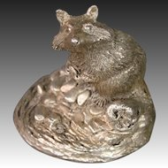 Sterling silver weighted raccoon figurine signed William C Greene