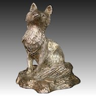 Sterling silver weighted fox figurine signed William C Greene