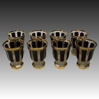 Moser art glass ruby cabochon panel set eight tumblers goblets