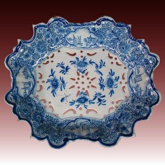 Antique Dutch Delft pierced berry bowl c 1760 Antonius Pennis Jr