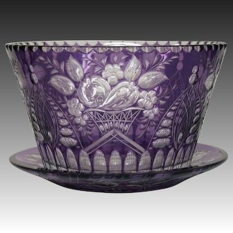 Webb amethyst engraved fruits and flowers large bowl and underplate
