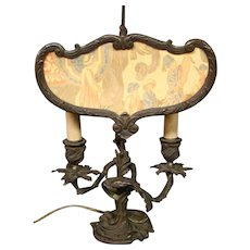 Late 19th Century antique French Louis XV ormolu candlestick screen lamp