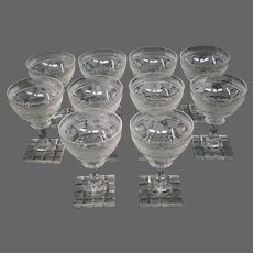 Bohemian etched glass set of ten deer goblet cut foot