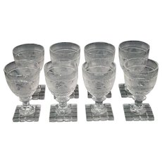 Bohemian etched glass set of eight deer goblet cut foot