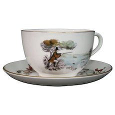 Royal Worcester large hunting scene cup saucer For a very important person