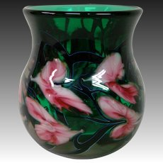 John Lotton floral paperweight art glass vase signed dated 1995 emerald green