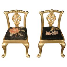 Miniature Chinese Chippendale gilded pair of chairs needlepoint seats