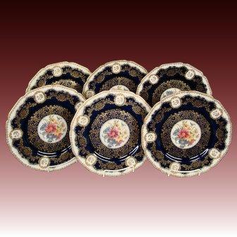 Black Knight porcelain cobalt blue floral set dinner plates 506