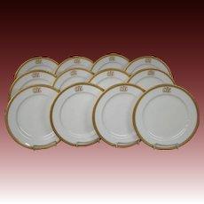 Royal Worcester porcelain set of twelve gold rim encrusted dinner plates W8164