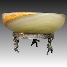 Antique green onyx silver cherub cupid footed open salt dip