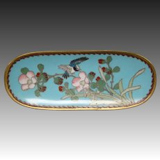 Cloisonne bird and floral oblong tray
