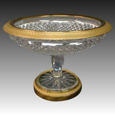 Bronze and cut crystal compote