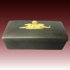 Wedgwood basalt alligator Egyptian theme covered box