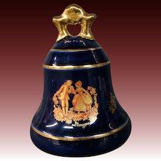 Limoges porcelain cobalt blue gold courting scene bell