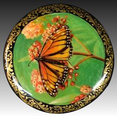 Russian lacquer hand painted button monarch butterfly