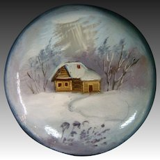 Russian lacquer hand painted button cabin snow winter scene