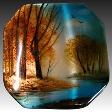 Russina hand painted mother of pearl button stream and trees