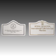 Royal Doulton International Collector Club pair of member signs