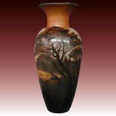 D'Argental French cameo glass monumental scenic art glass vase