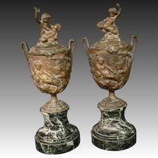 Antique French bronze and marble cupid satyr pair covered urns vases 1800's