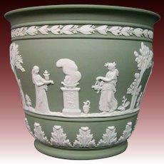 Wedgwood green jasperware unusual form jardiniere vase