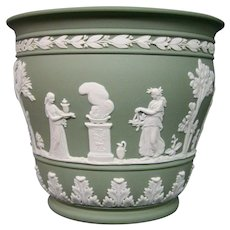 Wedgwood green jasperware unusual form jardiniere vase
