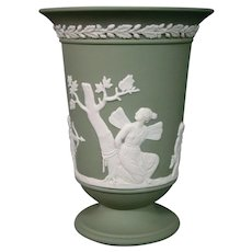 Wedgwood green jasperware classic figures vase Venus cupid
