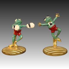 Paris France pair cold painted boxing frog place card holders