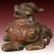 Oriental bronze foo dog dragon scholar's scroll weight