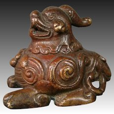 Oriental bronze foo dog dragon scholar's scroll weight