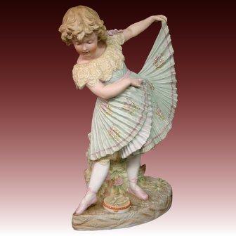 Antique Gebruder Heubach large bisque dancing girl figurine sunburst mark