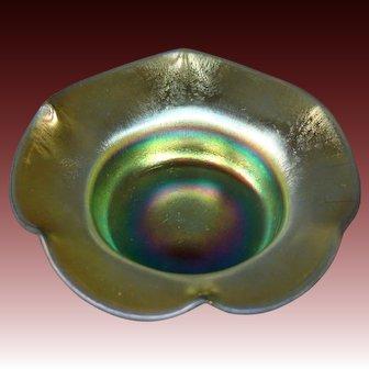 Steuben gold aurene ruffled salt dip form 138 signed