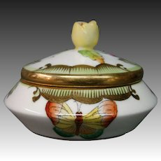 Herend porcelain Queen Victoria butterfly trinket box yellow finial