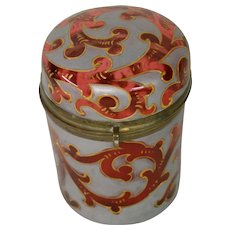 Bohemian art glass platinum gold enameled cranberry covered cylindrical dresser box