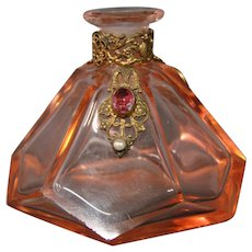 Austrian crystal jeweled jewel perfume bottle marked