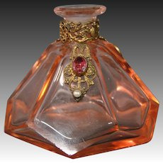 Austrian crystal jeweled jewel perfume bottle marked