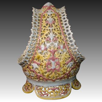Zsolnay Pecs reticulated handled basket from vase signed late 1800's