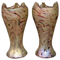 Rindskopf Kralik Bohemian pair matching iridescent art glass large vases